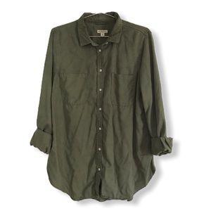Merona Green Button-Down Utility Shirt XL